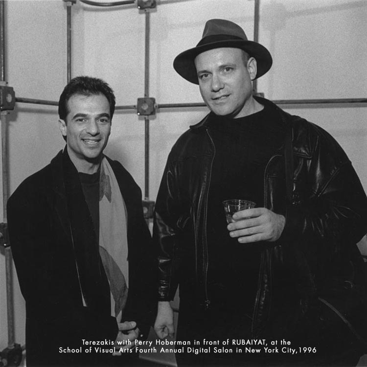Perry Hoberman and Peter Terezakis in front of the participatory sculpture Rubaiyat, 4th Digital Salon School of Visual Arts, NYC 1996