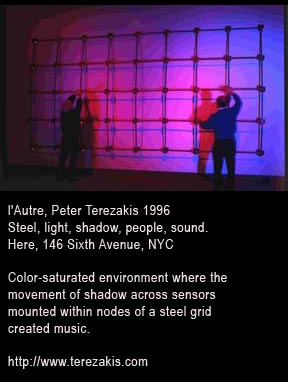 l'Autre, Peter Terezakis 1996 Steel, light, shadow, people, sound. Here, 146 Sixth Avenue, NYC  Color-saturated environment where the movement of shadow across sensors mounted within nodes of a steel grid created music.http://www.terezakis.com